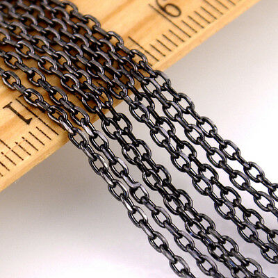 1.5mm Black Bronze Sterling Silver Plated Small Brass Link Cable Chain c43 (2ft)