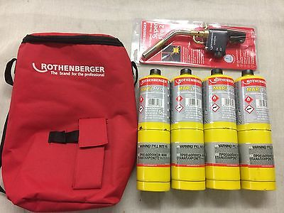 Rothenberger Hotbag 35644 Super Fire 2 Torch , Toolbag And 4 X Mapp Gas