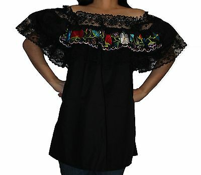 Black Gypsy Peasant Mexican Embroidered Lace Off Shoulder Blouse L-Xl