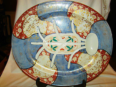 Rare Signed Hichozan Shimpo Arita Porcelain Huge Tree & Well Platter 19th c 22""
