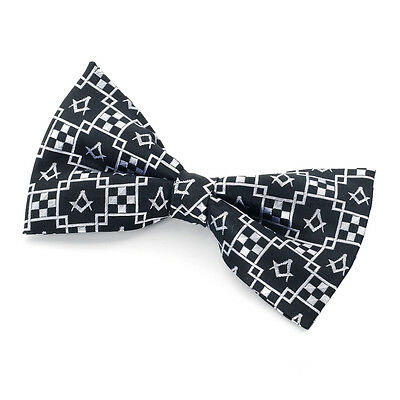 100% Silk Masonic Craft Pavement Design Bowtie Freemasons Regalia Gift
