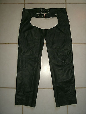 Vintage Cool !  HOT LEATHERS  Motorcycle Rider Leather Chaps Overpants . Size M