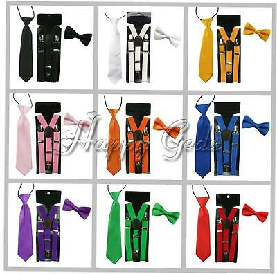 Kids Baby Boy Clip-on Y-Back Braces Suspenders Bow Tie Necktie Party Wedding Set