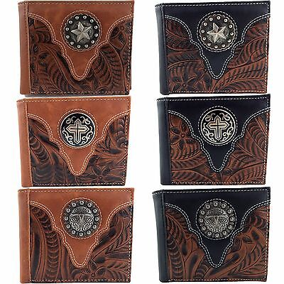 Western Cowboy Western Tooled PU Leather Silver Concho Bifold Mens Wallet