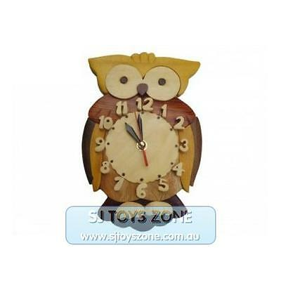 Owl Natural Wooden Clock Home Deco