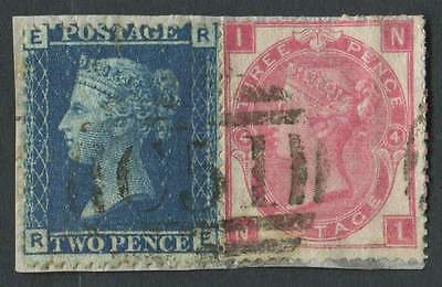 GB Used in DANISH WEST INDIES SG45 2d Blue & SG103 3d Rose, C51 St Thomas duplex
