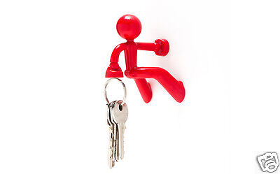 KEY PETE Red Magnetic Man Holder Ofiice Home Funky Gift By Peleg Design