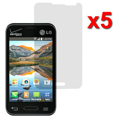 5X Crystal Clear LCD Screen Protector For LG Optimus Zone 2 VS415PP Fuel L34C