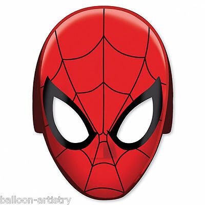8 Marvel Ultimate Spider-Man Child's Birthday Party Paper Face Masks