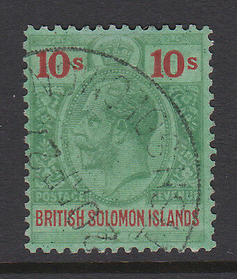 British Solomon Islands 1922 10/- Green & Red Sg 52 Fine Used.