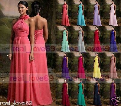 New Chiffon Long Wedding  Formal Party Ball Gown Prom Bridesmaid Dress Size 6-18