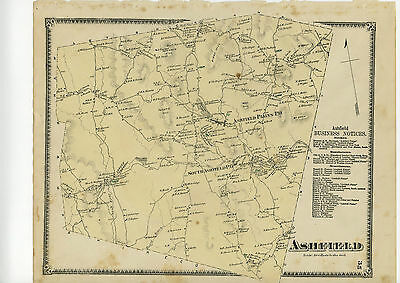 1871 Beers Map of Ashfield, Beers original map from Atlas of Franklin County