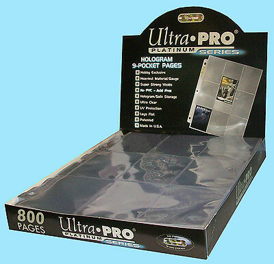 800 ULTRA PRO PLATINUM 9-POCKET Card Pages Sheets holo 8 Boxes Binder Protector