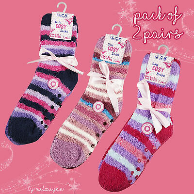 I.L.C.K Girls SuperSoft Socks Bright Multi Coloured Cosy Stripy With Grippers