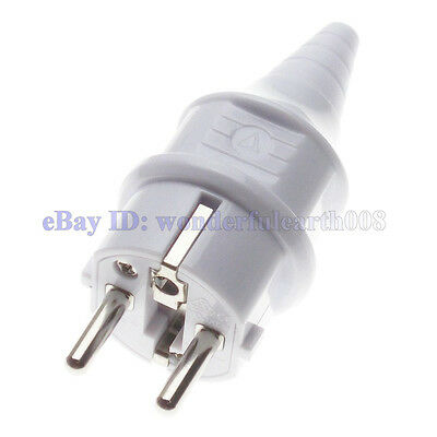 France Schuko Type European Rewireable AC Power Plug 250V 16A White Color