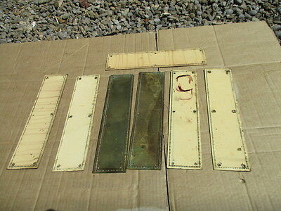Antique Brass Finger Plate Push Door Handle Ornate Beading Victorian >£8 each<