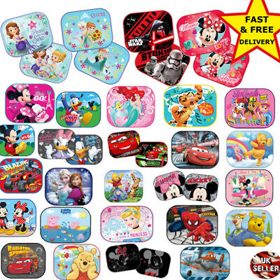2x Disney Car Sun Shade UV Baby Children Kids Window Visor  Cars Peppa Winnie