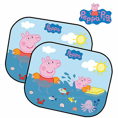 2 Peppa Pig Kids Baby Children Car Window UV Protection Mesh Sunshadows Blinds