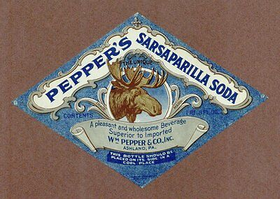 Pepper's Sarsaparilla Soda Label, Ashland, PA, Vintage Advertising