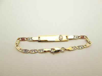 Children Babies 10k Tri Gold Valentino link ID Bracelet With Guadalupe 5.5 inch
