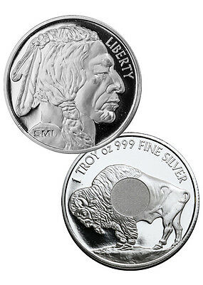 New Sunshine (SMI) Buffalo 1oz .999 Fine Silver Round coin in air-tight capsule