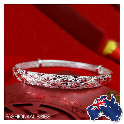 925 Sterling Silver Class ~ Stunning ~ Women's Solid Adjustable Bangle