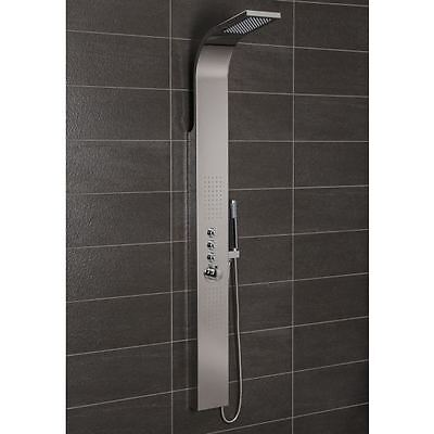 Bathroom Splash Thermostatic Shower Panel Tower 2Body Jets Stainless Steel