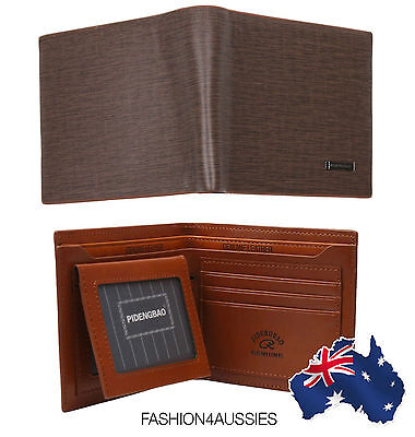 (RRP $25) MENS LEATHER WALLET Brown Designed Pocket Card Clutch Bifold Purse