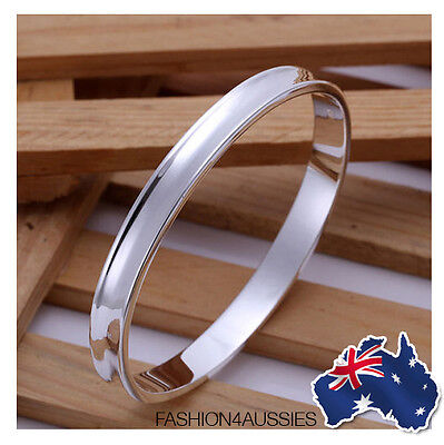 925 Sterling Silver ~ Class ~ Solid ~ Bangle Bracelet Ladies Jewellery
