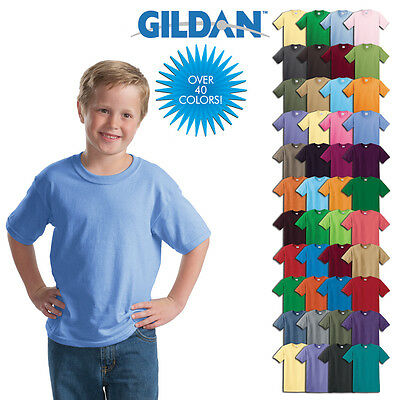Gildan Plain Children Kids T Shirts Solid Cotton Short Sleeve Blank Shirts