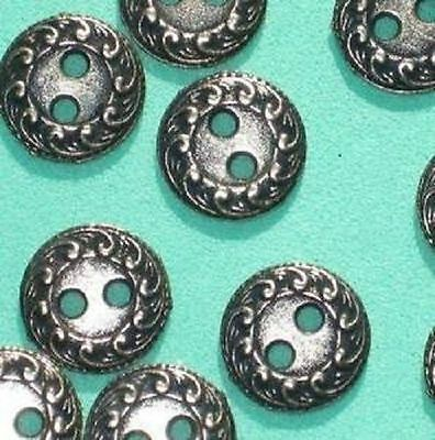 Lot 20 ORNATE New Vintage Antiqued SiLVeR Metal Buttons Small