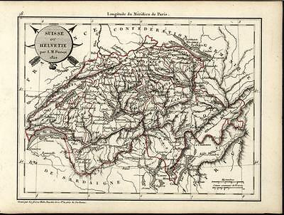 Switzerland by Perrot 1822 scarce fine old vintage antique map