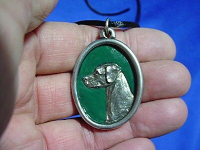 Pewter Cameo Rhodesian Ridgeback necklace Hand painted Sighthound Dog Jewelry G