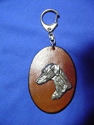 Smooth Saluki Key Chain Pewter and leather Sighthound Coursing Dog Jewelry CAC