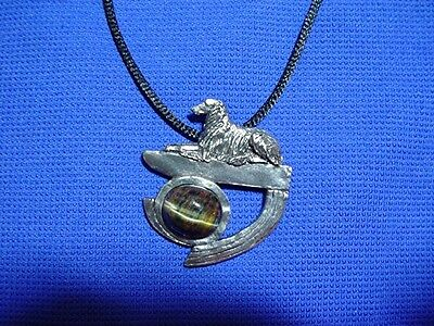Borzoi Pewter pin Tiger eye Abstract by Cindy A. Conter Hound Dog jewelry CAC #5