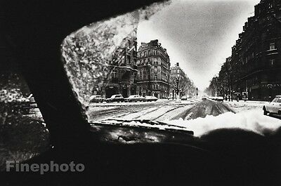 1978 Vintage 8x10 SUNDAY MORNING Snow Winter Cityscape Driving By JEANLOUP SIEFF