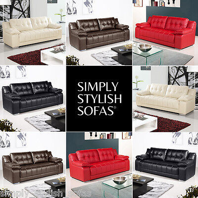 NEWHAM Modern Leather Sofas 3 + 2 Seaters + Armchairs + 1 Year Guarantee