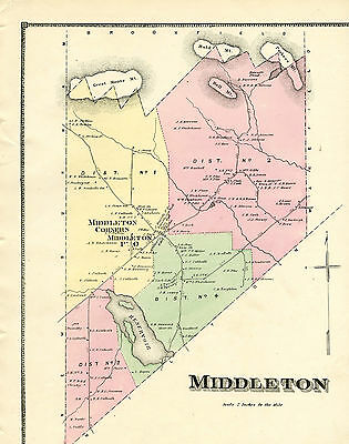 1871 Map of Middleton, New Hampshire by Sanborn & Everts Atlas w/family names
