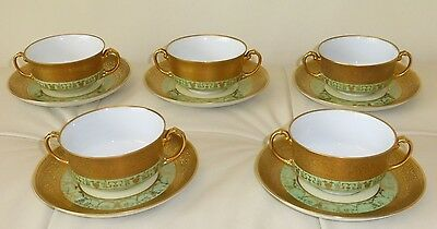 Antique H&c Selb Bavaria Heinrich &co Gold Gilded Double Handled Cups & Saucers