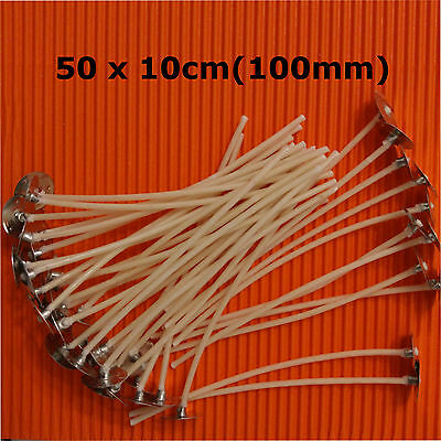 50x 10cm/100 mm /4inch  Pre Waxed Wicks with Tabs For Candle Making Top Quality