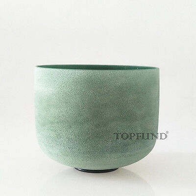 Emerald Fusion F# Thymus Chakra Frosted Quartz Crystal Singing Bowl 8""
