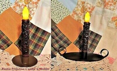 "PRIMITIVE RUSTIC GRUNGE COUNTRY 6.5"" LED Taper FLICKER CANDLEor Choice of HOLDER"