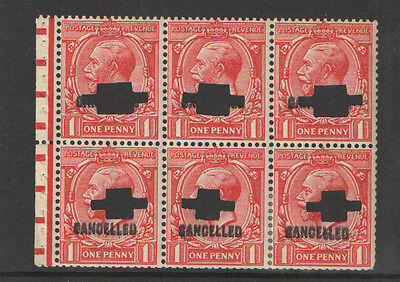 SG NB13ax George V Cancelled Type 33p 1d Scarlet Booklet Pane Cat £550