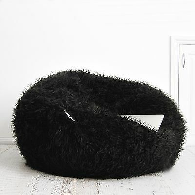 SHAGGY FUR BEANBAG Cover Soft Black Bedroom Plush Bean Bag Lounge Movie Chair