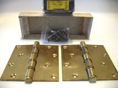 "Vintage NOS Satin BRASS Metal Door Butt HINGES 4-1/2"" X 4-1/2"" Getty Unmarked"