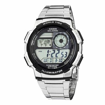 Casio Men's World Time Silver-Tone Bracelet Digital Sport Watch AE1000WD-1AV