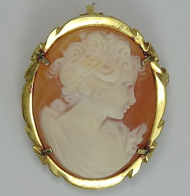 Detailed Vintage Italian Gold Washed Sterling Frame Carved Shell Cameo Brooch
