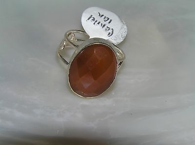 Estate 925 Marked Silver Open Curilcue Band with Faceted Oval Carnelian Stone