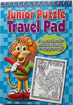 Junior  Puzzle  Travel Pad - wordsearch, crosswords, mazes and more ,  blue