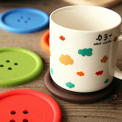 1/5Pcs Silicone Coffee Placemat Button Coaster Cup Glass Beverage Holder Pad Mat